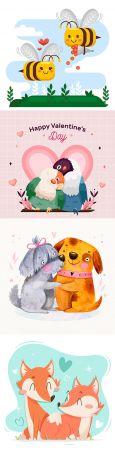 Valentine's Day romantic pair cartoon animal illustration