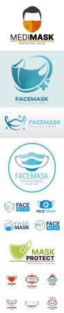 15 Face Mask Logos Templates in Vector