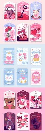 Valentine's Day design collection romantic stickers