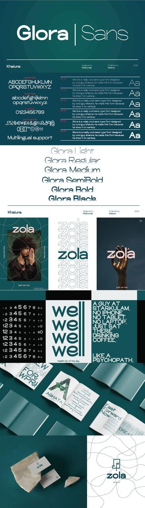 Glora Sans Serif Font Family [6-Weights]