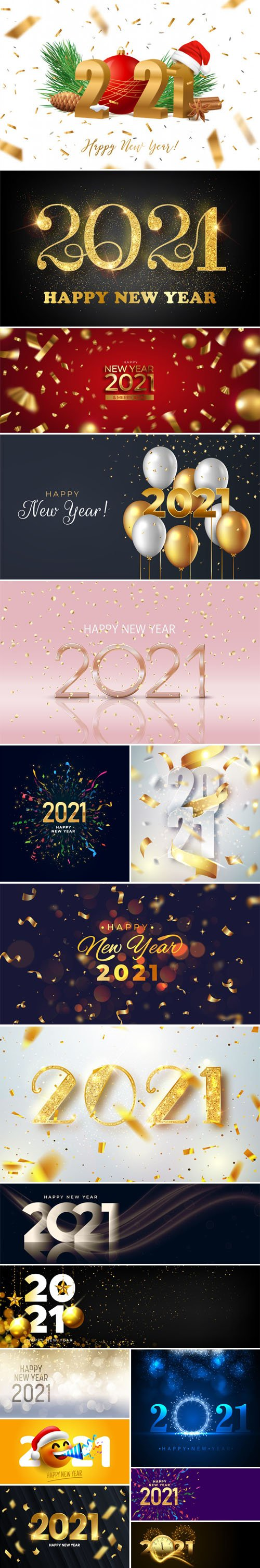 17 Happy New Year 2021 Backgrounds Vector Templates Collection