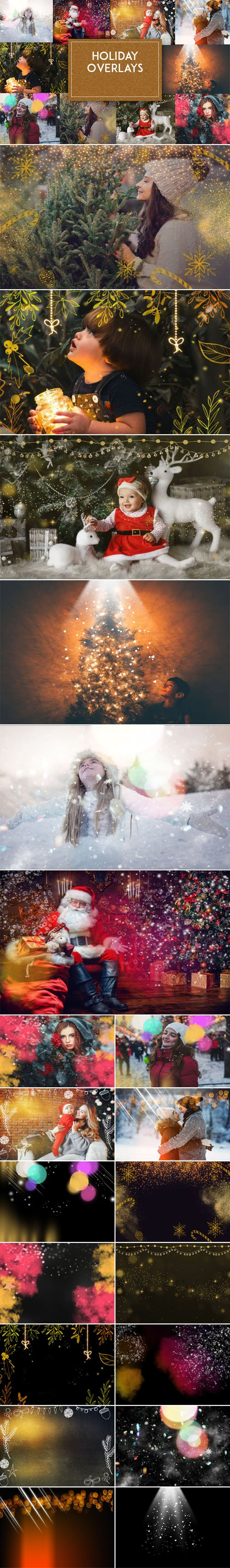 10 Beautiful Holiday Photoshop Overlays Collection