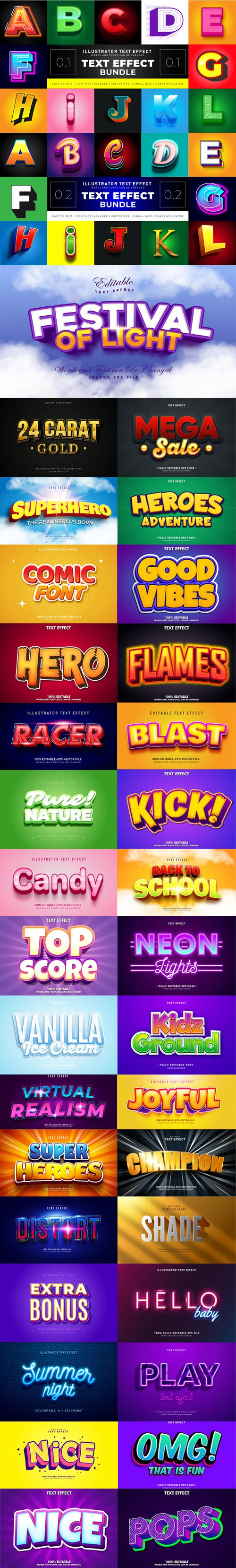 35 Modern Vector Text Effects Bundle