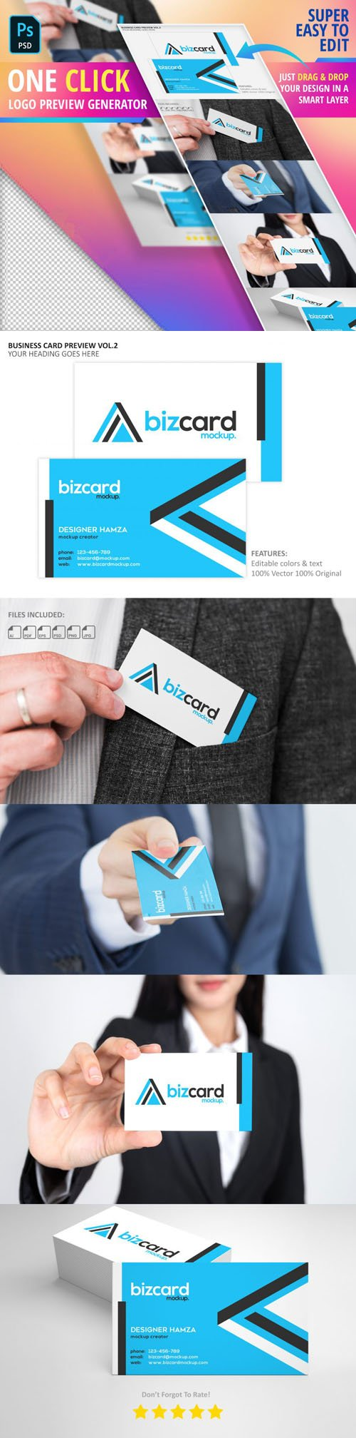 Business Card PSD Mockup - Logo Preview Generator