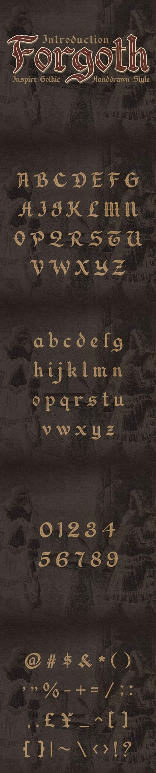 Forgoth Typeface - Inspire Gothic Hand Drawn Style
