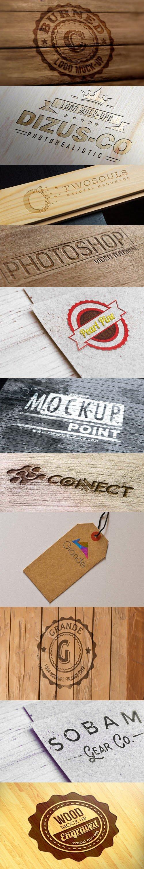 9 Wooden Logo PSD Mockups Templates
