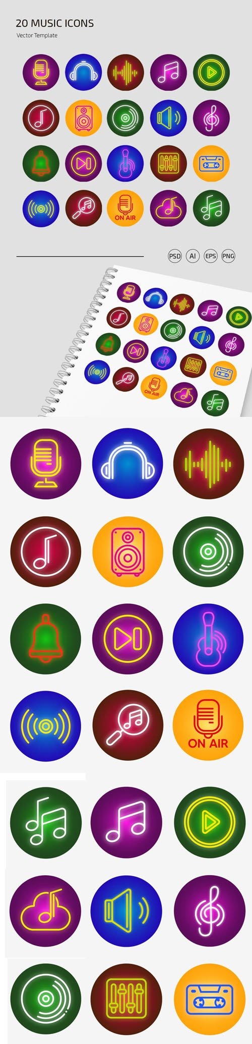20 Music Icons PSD Templates + Vectors