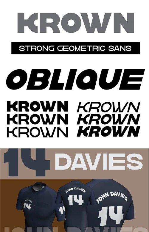 Krown - Geometric Sans Serif Font Family [6-Weights]