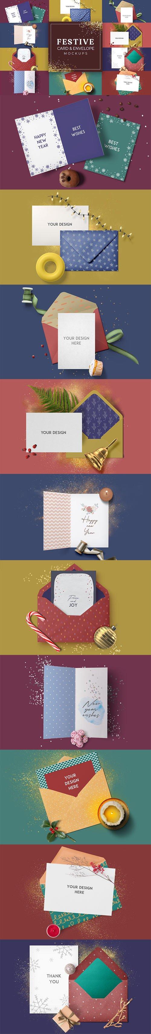 10 Festive Card & Envelope PSD Mockups Templates Collection