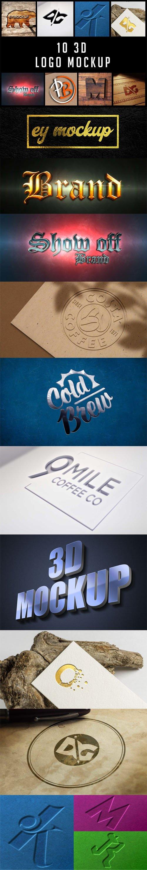 10 3D Logo PSD Mockups Templates Collection