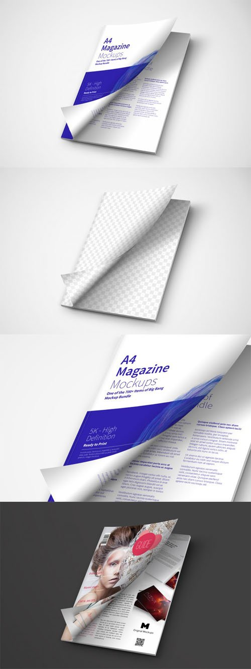 A4 Magazine PSD Mockup Cover Opening