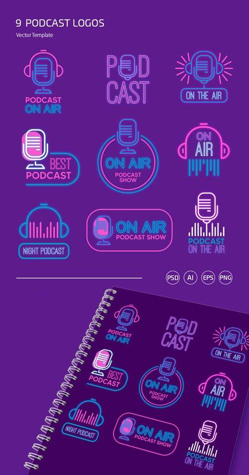 9 Podcast Logo Set PSD Templates + Vector