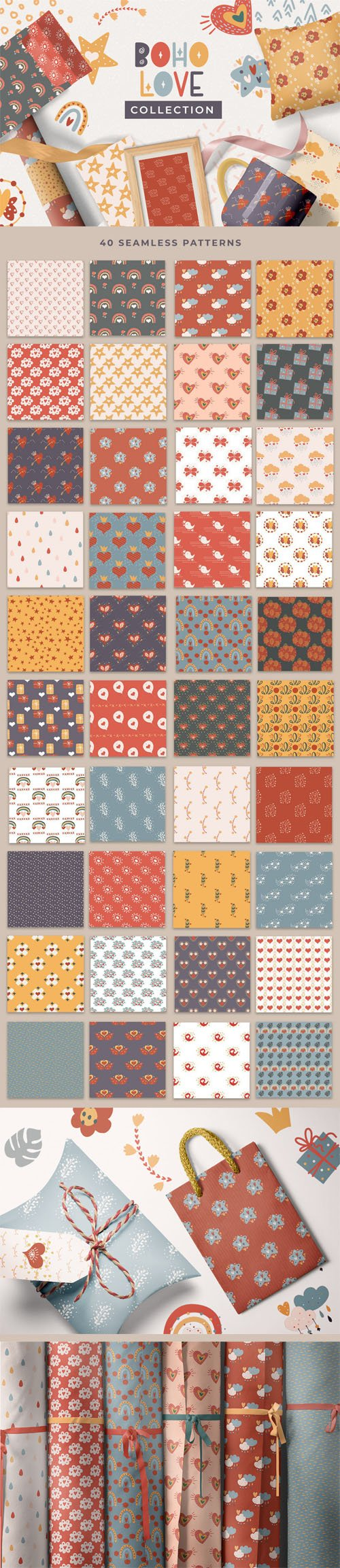 Boho Love Collection - 40 Seamless Patterns