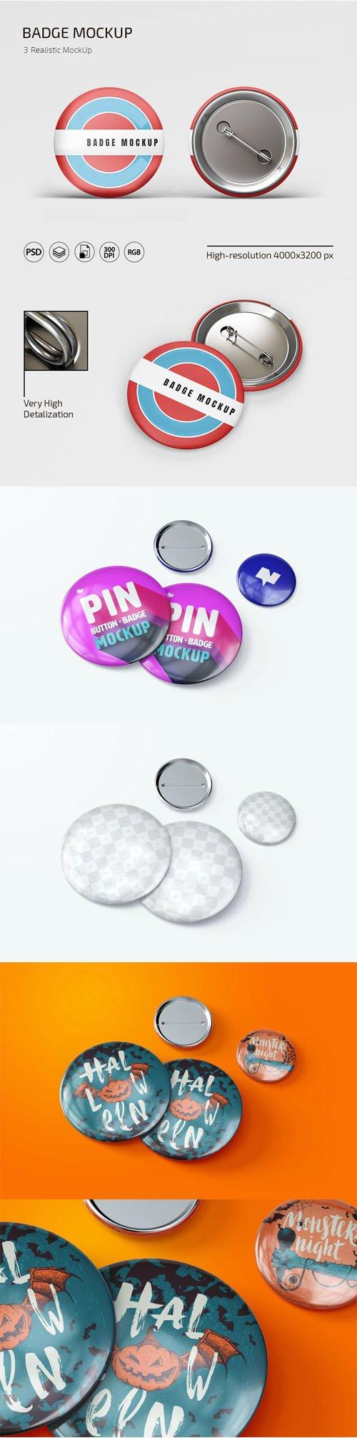 Pin Button Badges PSD Mockups Templates