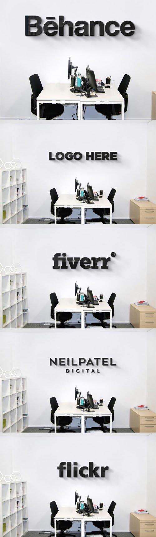 Company Office Wall Logo PSD Mockup