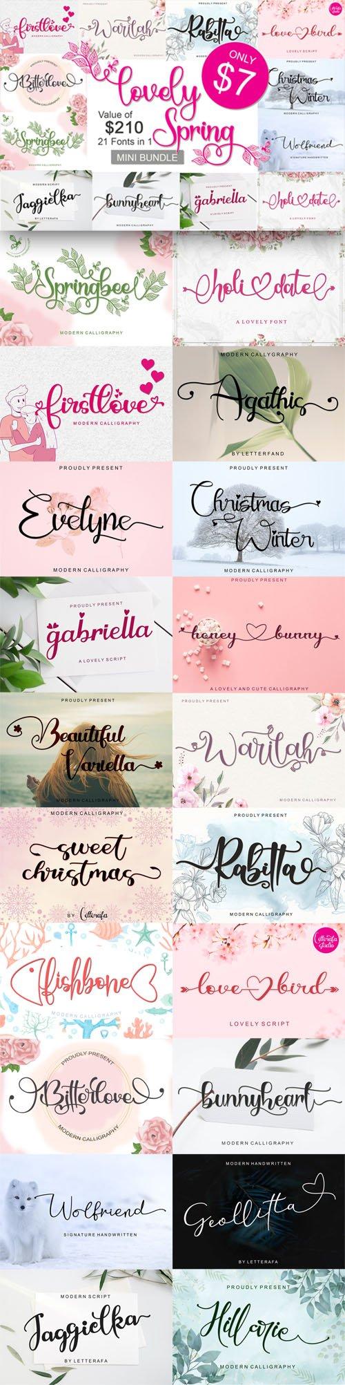 Lovely Spring Mini Bundle - 21 Fonts in 1
