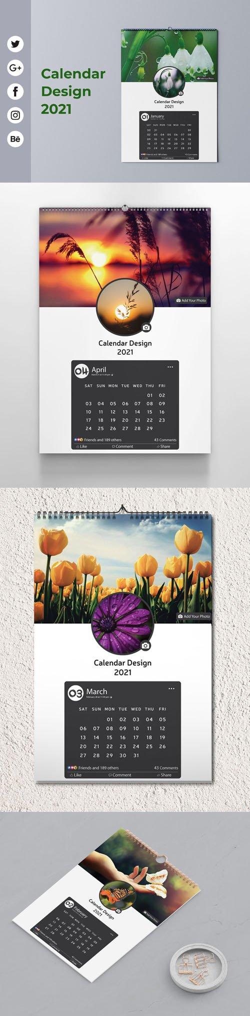 Calendar Design 2021 Vector Templates