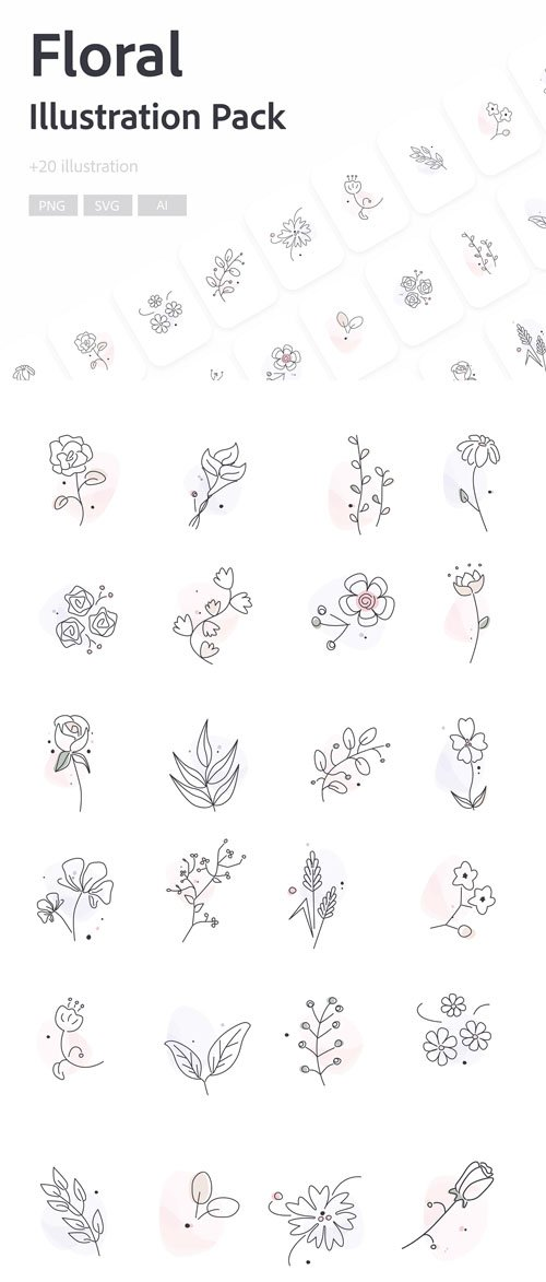 Floral Illustration Pack - 24 Illustrations