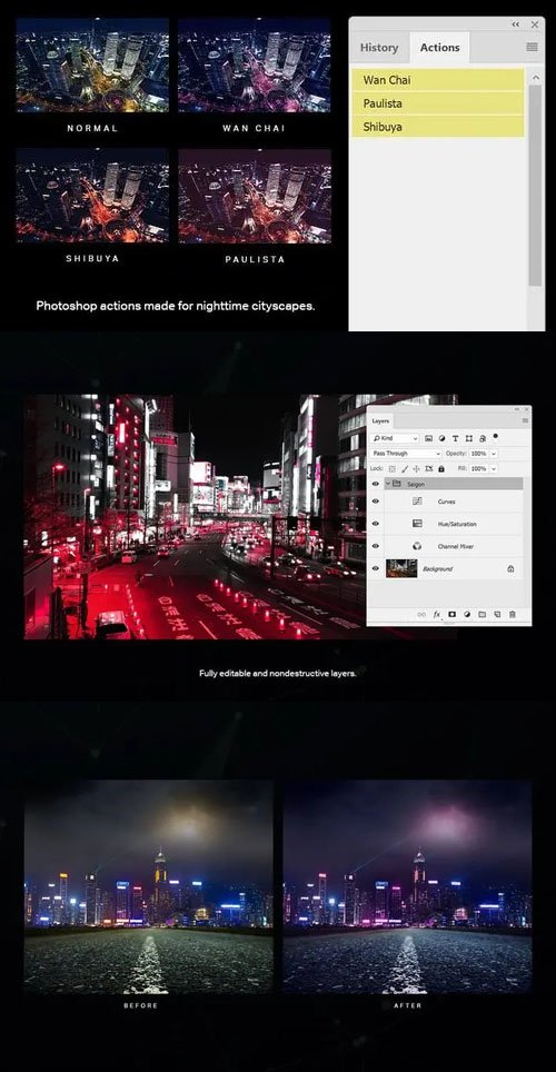 Dystopian Nighttime Cityscapes Photoshop Actions