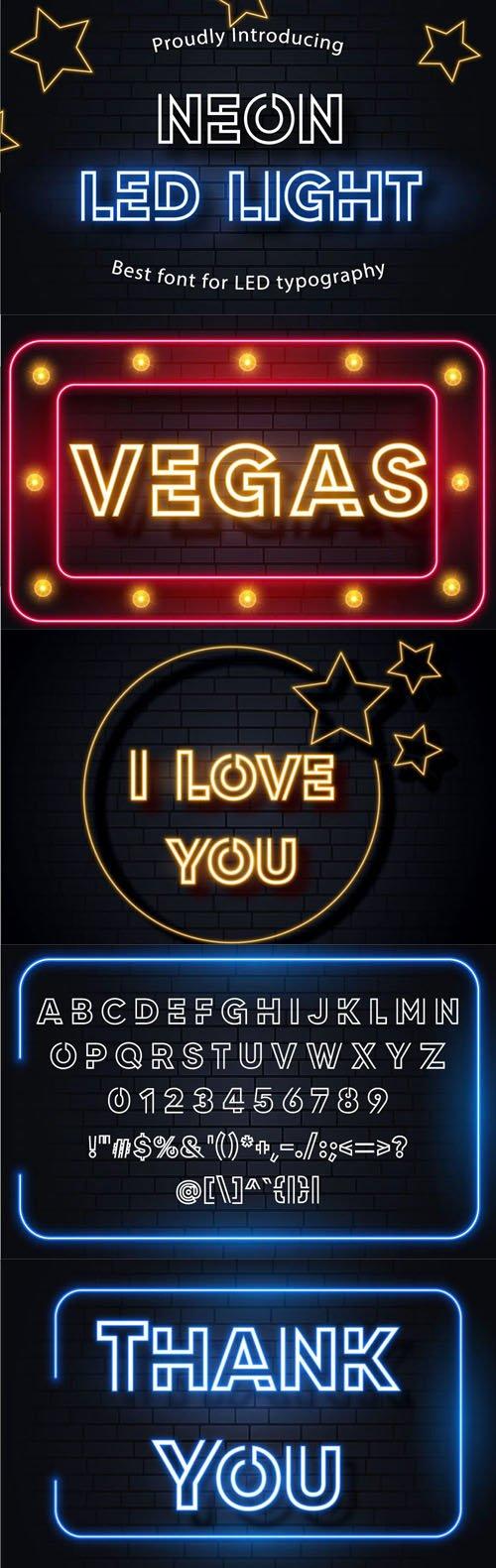 Neon Led Light Display Font