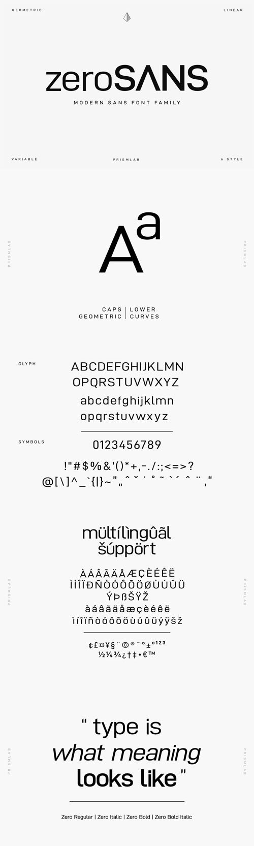 Zero Geometric Sans Typeface