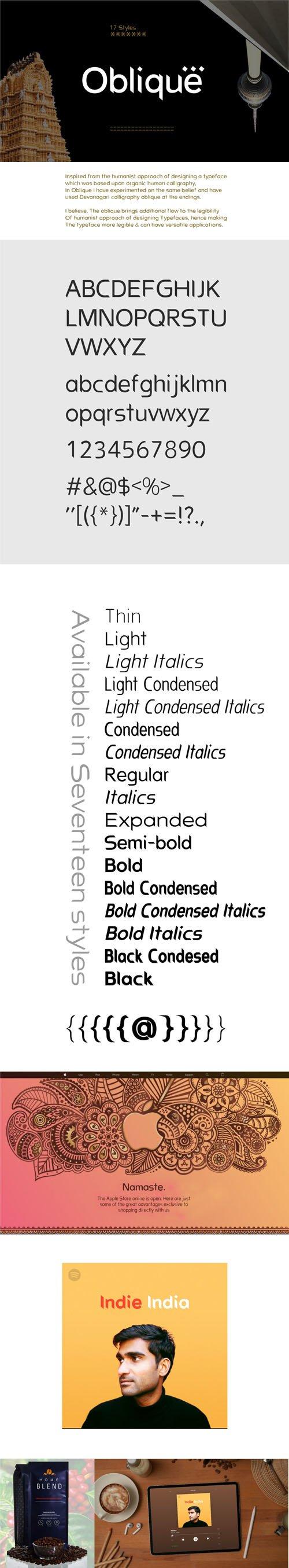 Oblique - Sans Serif Typeface [17-Weights]