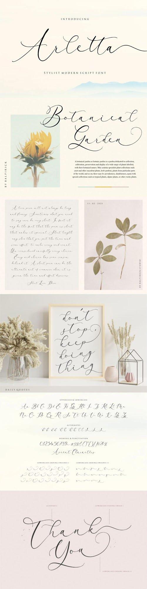Arletta Calligraphy - Stylish Modern Script Font
