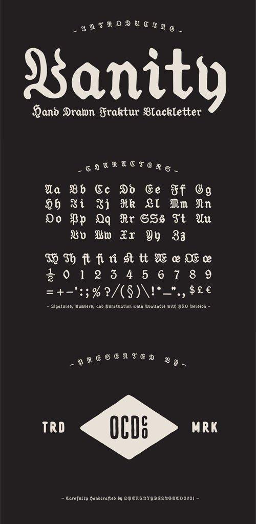 Vanity - Classic Style Fraktur Blackletter Font