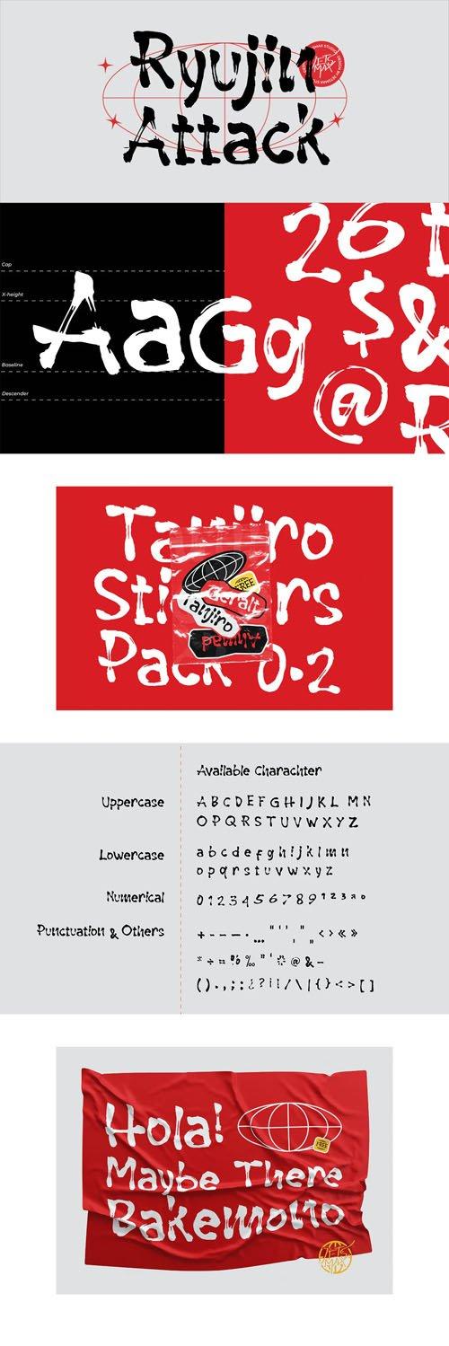 Ryujin Attack - Brush Typeface