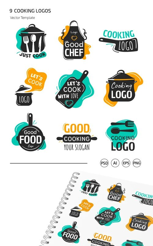 9 Cooking Logos Vector Templates
