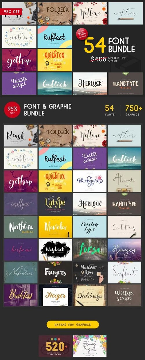 54 Font & 750+ Graphic Bundle
