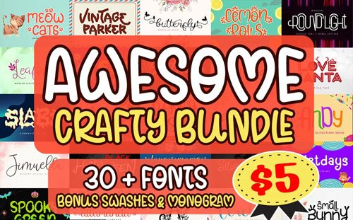 Awesome Crafty Font Bundle [35 Fonts]