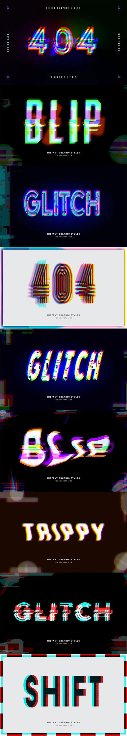 9 Glitch Graphic Styles for Adobe Illustrator