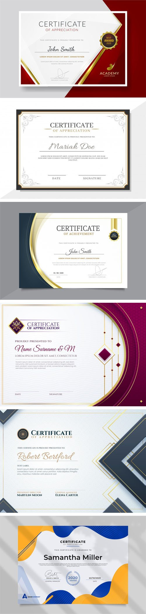 6 Modern Certificate & Diploma Templates in Vector