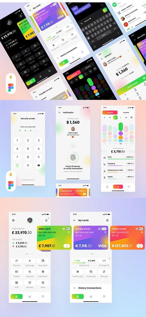 Banking App Mobile UI KIT Template for Figma [22 Scereens/Dark/Light]