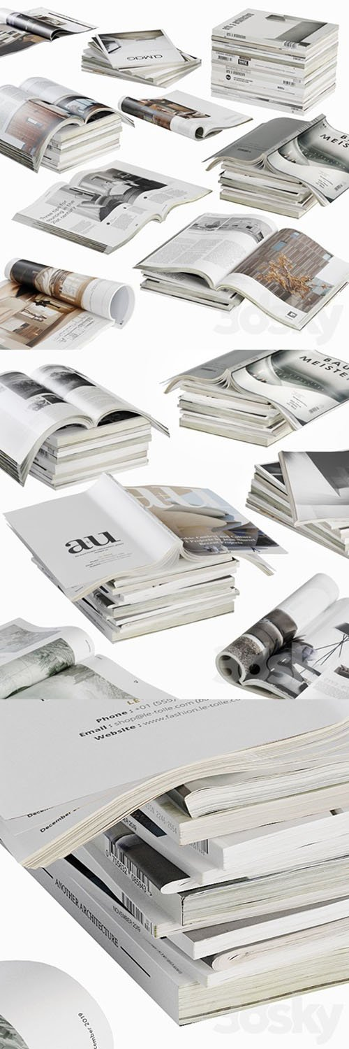 Opened Magazines Stack Set - 3D Models [3ds Max]