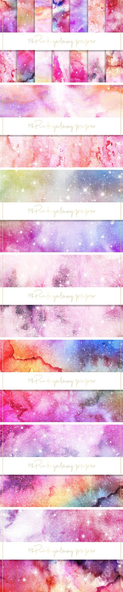 14 Pink Galaxy Paper Collection