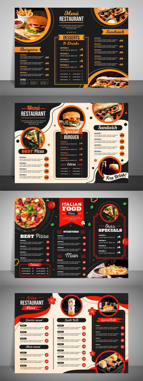 Modern Restaurant Menu Vector Collection