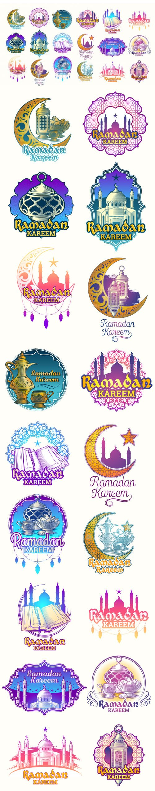 Colorful Islamic Ramadan Kareem Illustrations Badges Vector Templates