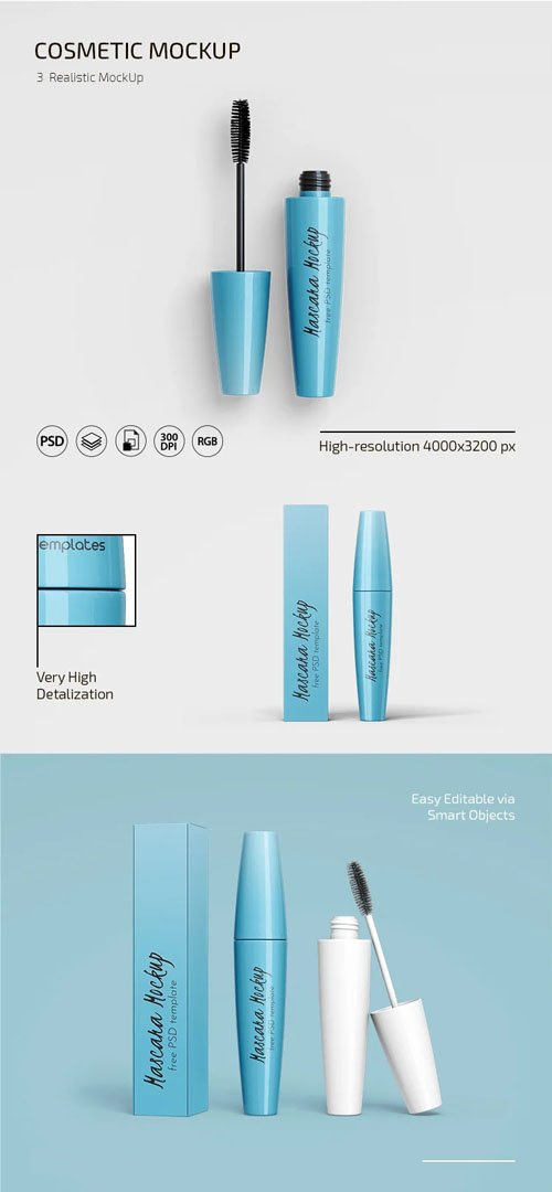 Realistic Cosmetic PSD Mockups Templates