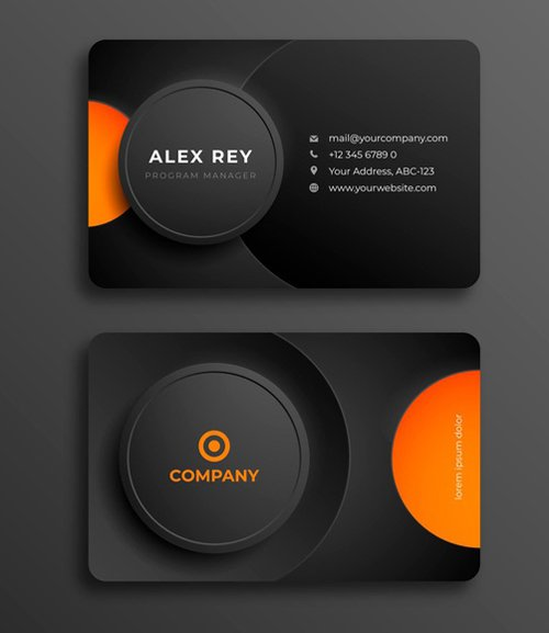 Black & Orange Business Card Vector Template