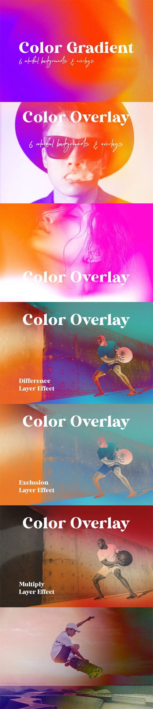 Color Gradient - 30 Colorful Backgrounds & Overlays