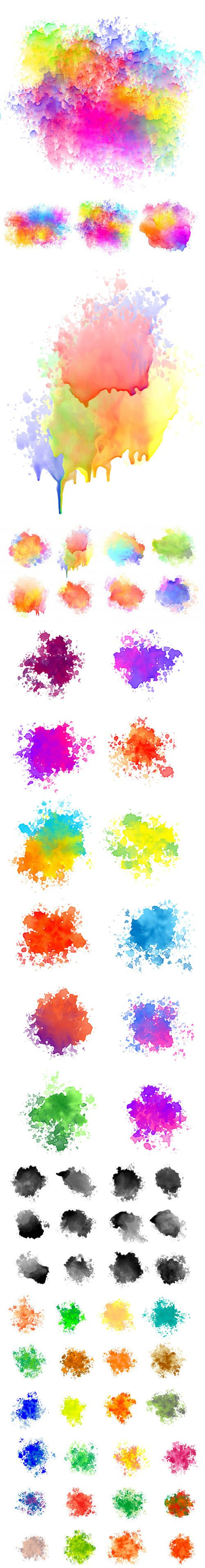 Collection Of Watercolor Splatter Vector Templates