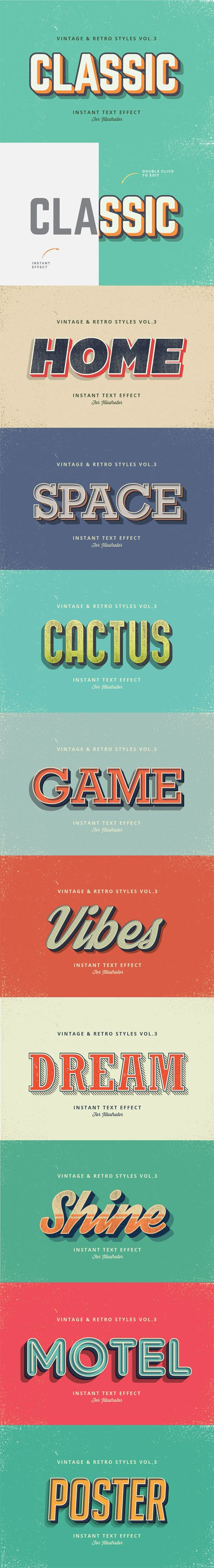10 Vintage and Retro Graphic Styles Vol.3 for Adobe Illustrator