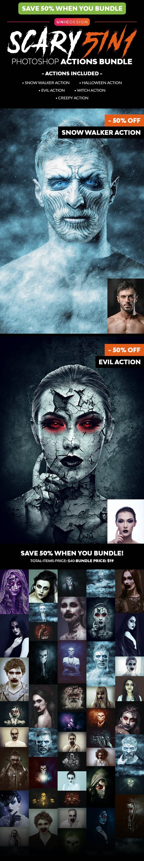 5in1 - Scary Photoshop Actions Bundle