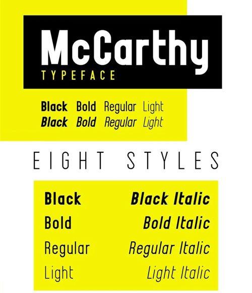 McCarthy Sans Serif Typeface [8-Weights]