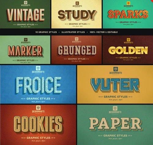 10 Retro Vintage Illustrator Text Styles Vol.2