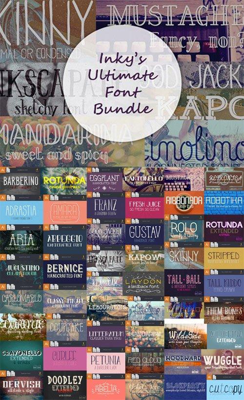 Ultimate Font Bundle - 52 Beautiful Fonts + Vector Graphics