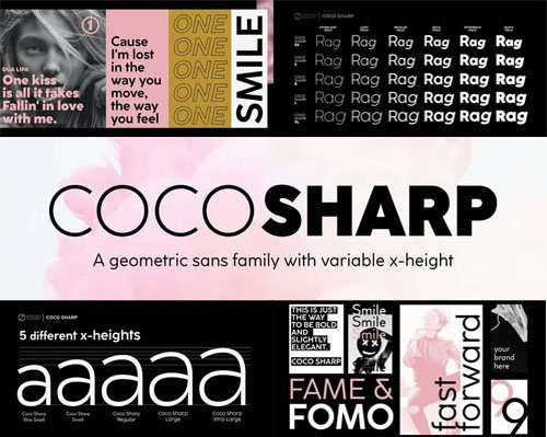 Coco Sharp - A Geometric Sans Family With Variable X-Heights [60-Weights]