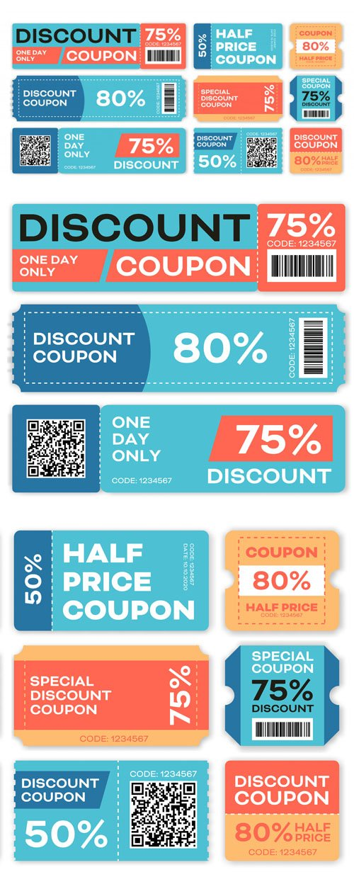 Special Offers and Promo Vouchers Vector Templates Set